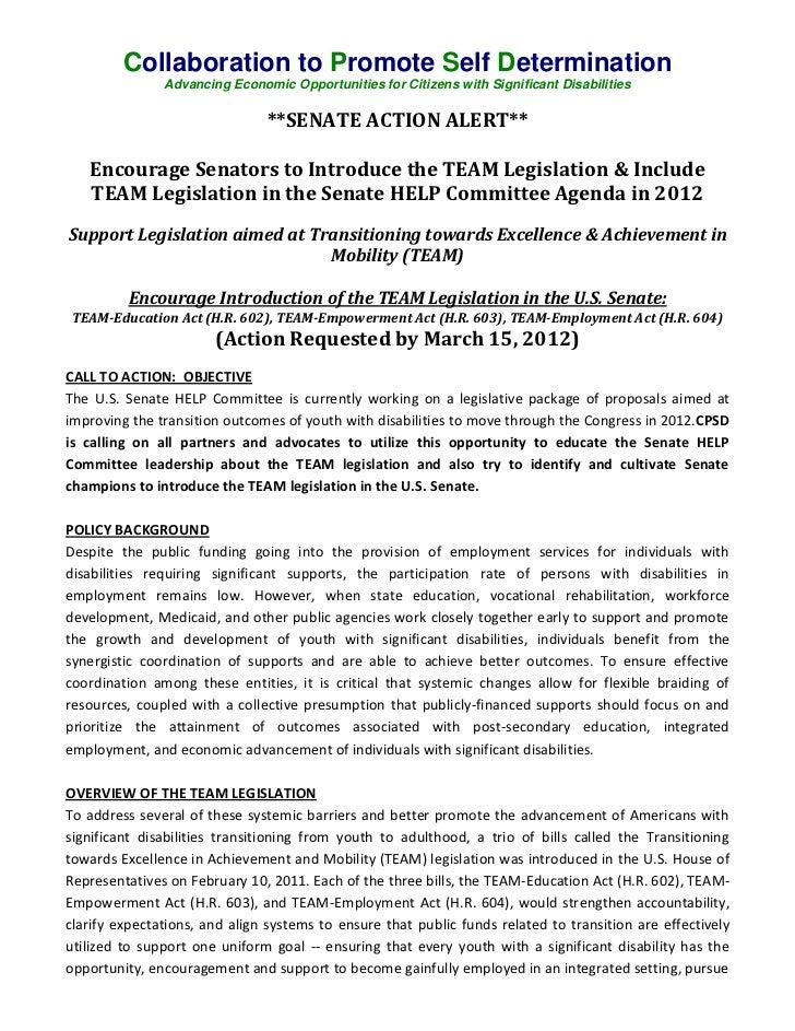 CPSD Senate Action Alert on TEAM Legislation 2012