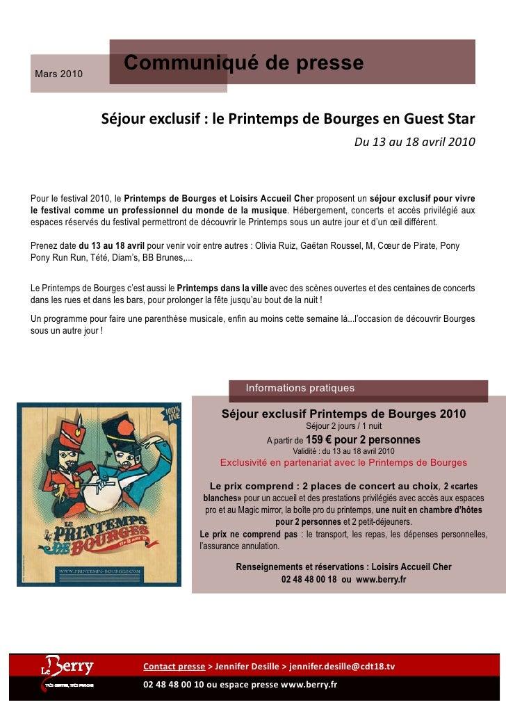 Mars 2010                         Communiqué de presse                    Séjour exclusif : le Printemps de Bourges en Gue...