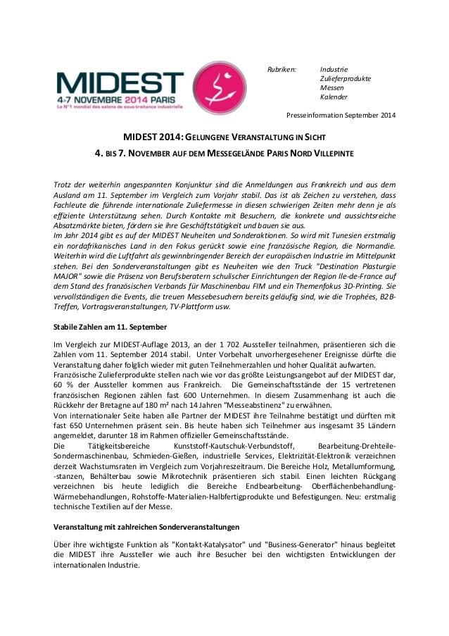 Rubriken: Industrie  Zulieferprodukte  Messen  Kalender  Presseinformation September 2014  MIDEST 2014: GELUNGENE VERANSTA...