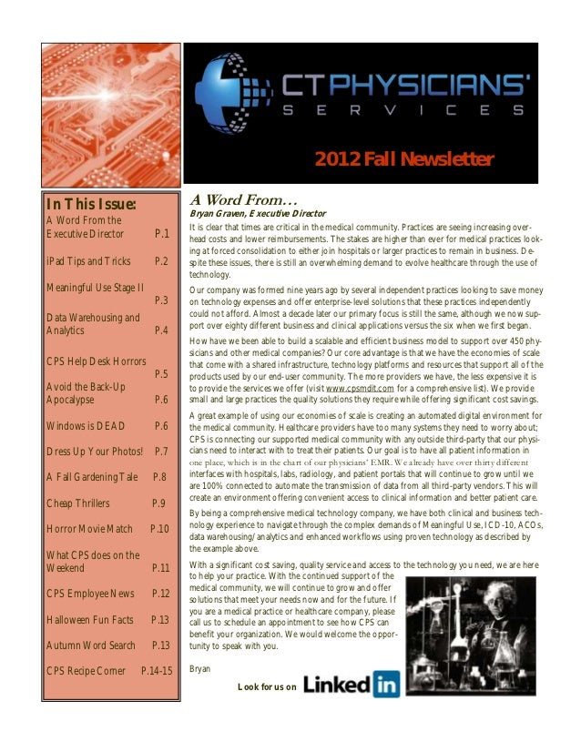 2012 Fall NewsletterIn This Issue:                    A Word From…                                  Bryan Graven, Executiv...