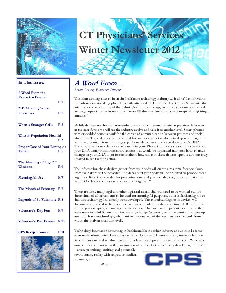 CT Physicians' Services                                   Winter Newsletter 2012In This Issue:                  A Word Fro...