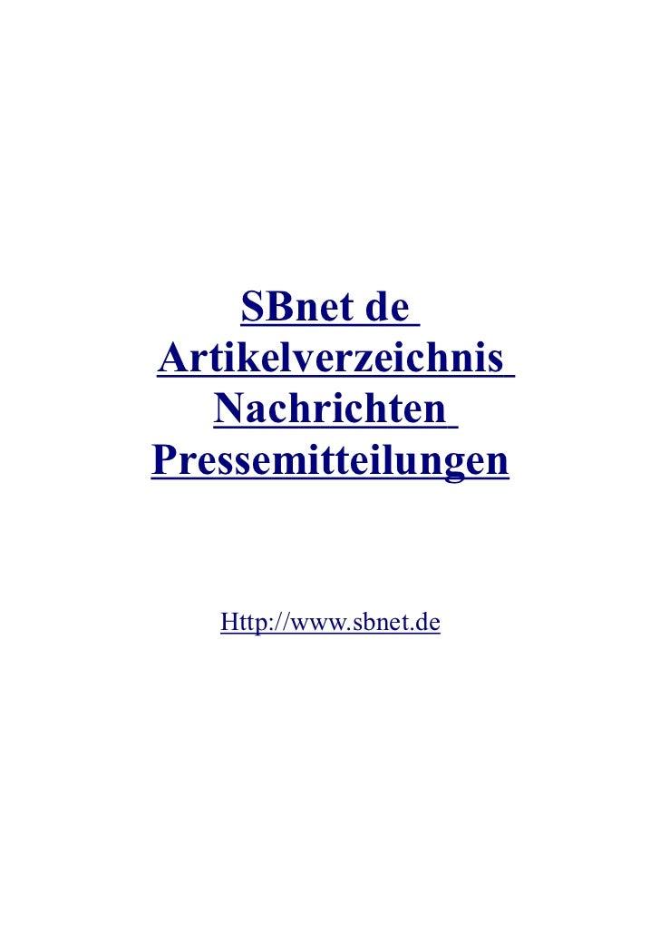 SBnet deArtikelverzeichnis   NachrichtenPressemitteilungen   Http://www.sbnet.de