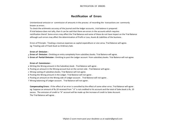 RECTIFICATION OF ERRORS                                                    Rectification of Errors    Unintentional omissi...