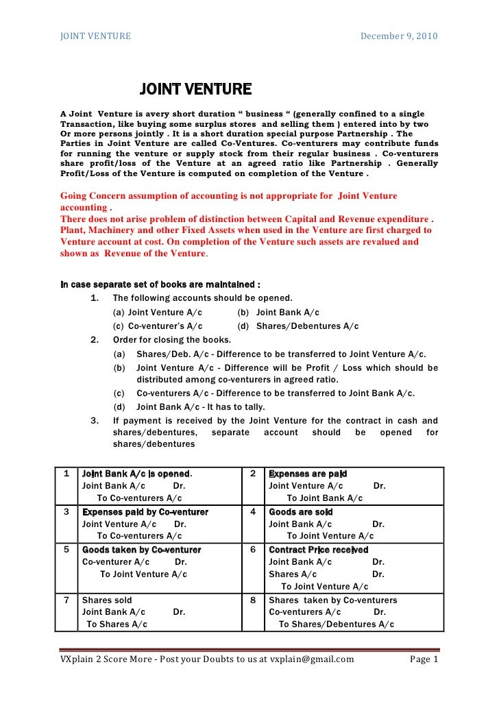 CPT Accounts Joint Venture Revision Sheet