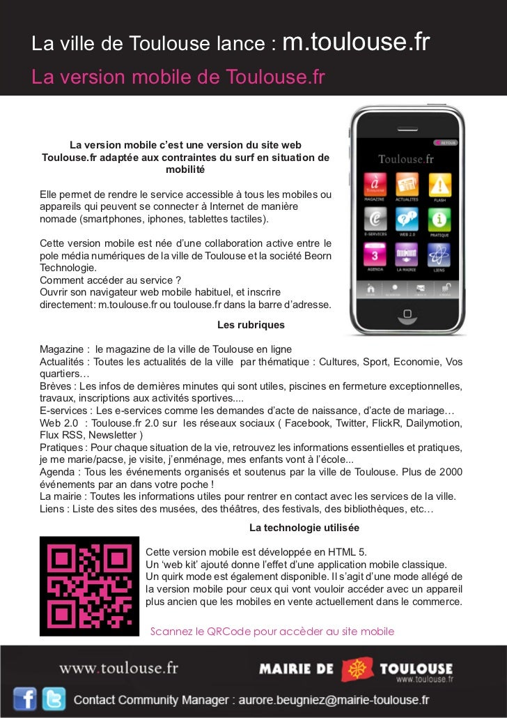 La ville de Toulouse lance : m.toulouse.frLa version mobile de Toulouse.fr      La version mobile c'est une version du sit...