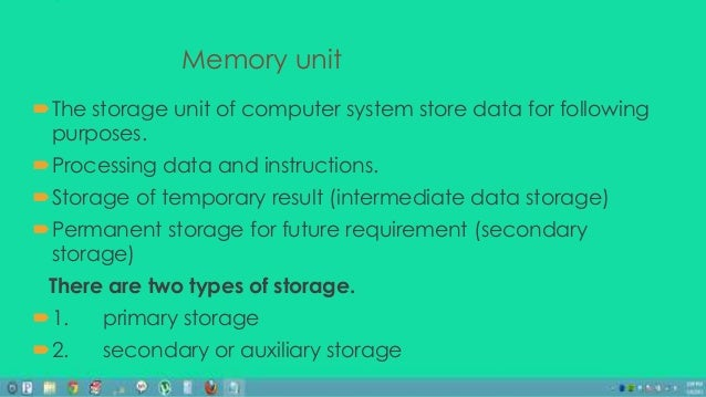 Cpu Memory Unit Memory Unit the Storage Unit