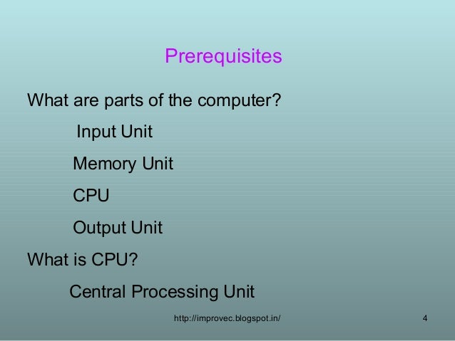 Cpu Memory Unit Input Unit Memory Unit Cpu