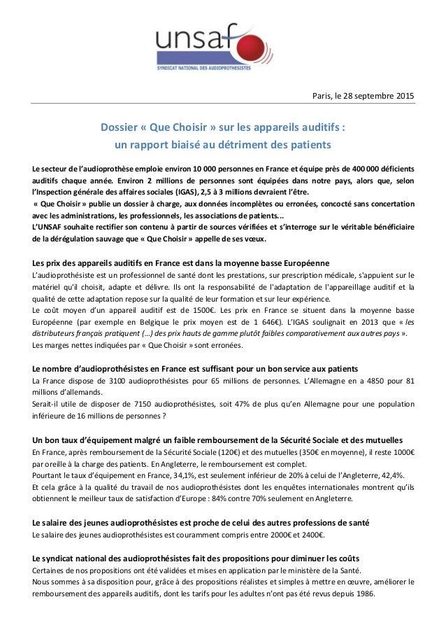 Paris, le 28 septembre 2015 Dossier « Que Choisir » sur les appareils auditifs : un rapport biaisé au détriment des patien...