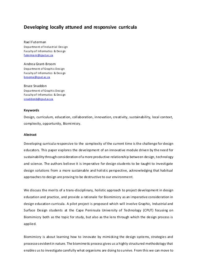 Developing locally attuned and responsive curricula Rael Futerman Department of Industrial Design Faculty of Informatics &...