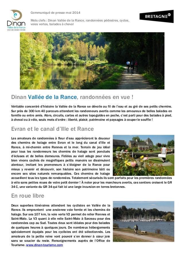 Communiqué de presse mai 2014 Mots clefs : Dinan Vallée de la Rance, randonnées pédestres, cyclos, voies vertes, balades à...