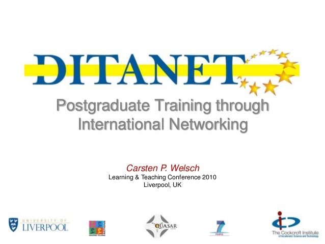 Postgraduate Training through International Networking Carsten P. Welsch Learning & Teaching Conference 2010 Liverpool, UK