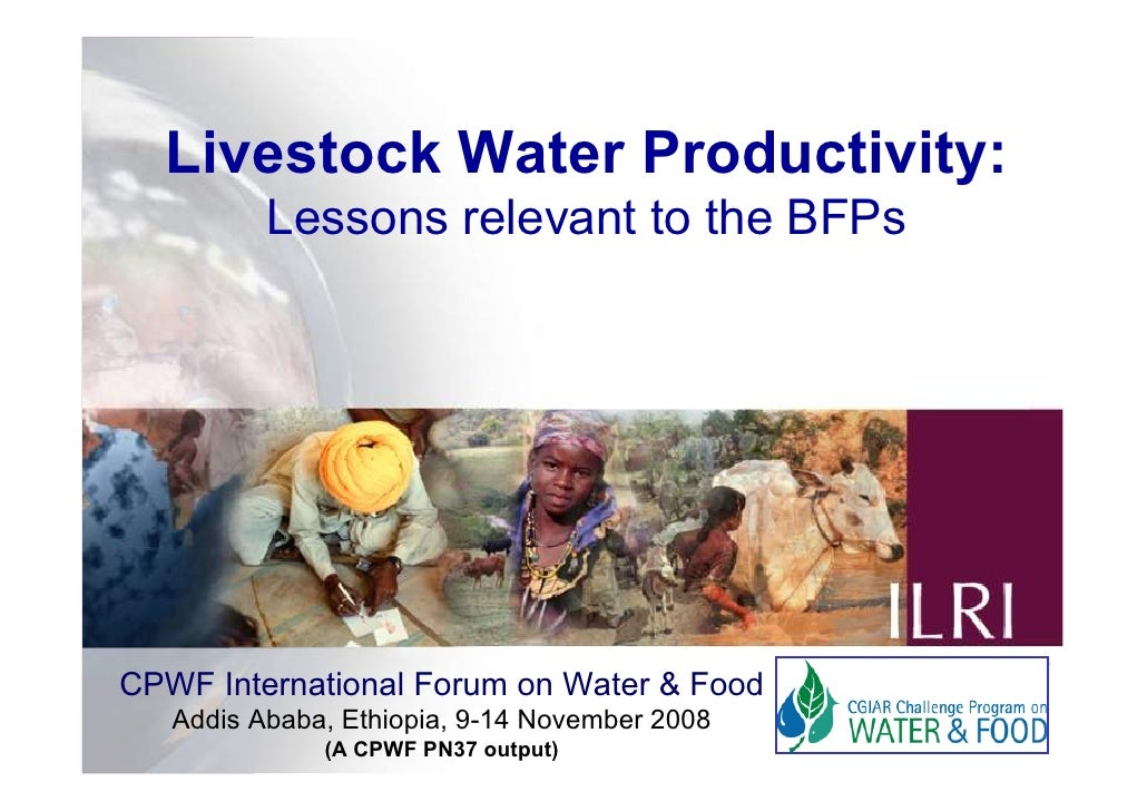 Livestock Water Productivity:           Lessons relevant to the BFPs     CPWF International Forum on Water & Food    Addis...