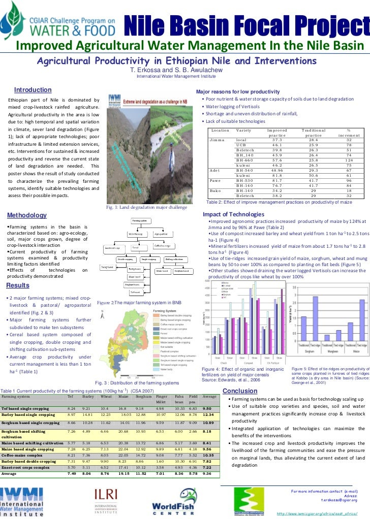 Agricultural productivity in Ethiopian Nile and interventions
