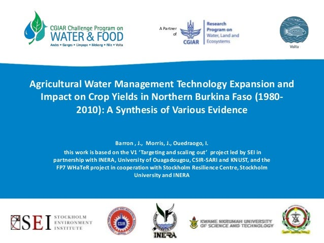 A Partner of Agricultural Water Management Technology Expansion and Impact on Crop Yields in Northern Burkina Faso (1980- ...