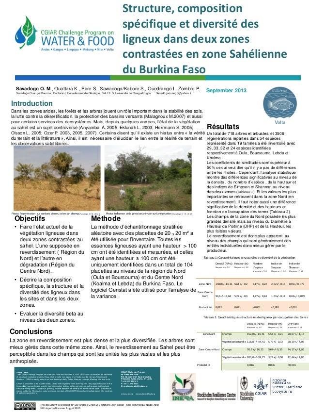 Structure, composition spécifique et diversité des ligneux dans deux zones contrastées en zone Sahélienne du Burkina Faso ...