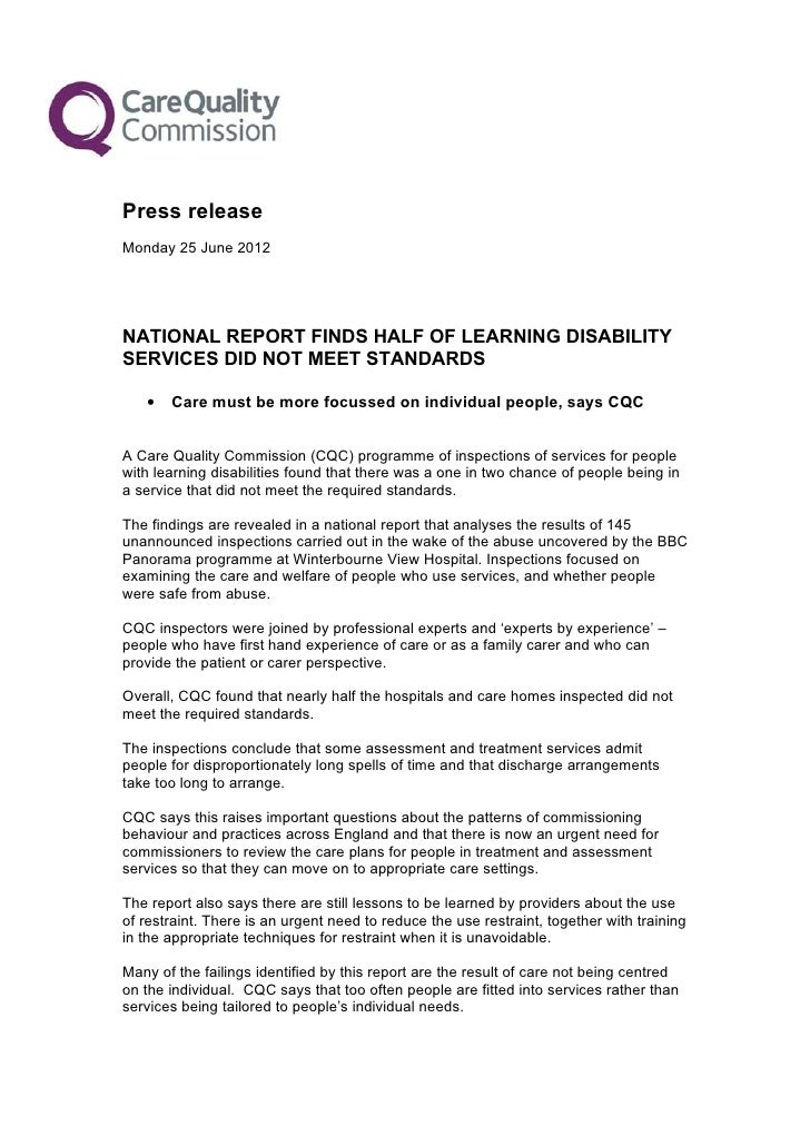 Press releaseMonday 25 June 2012NATIONAL REPORT FINDS HALF OF LEARNING DISABILITYSERVICES DID NOT MEET STANDARDS   •   Car...
