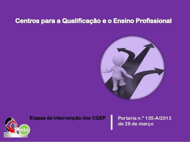 Portaria n.º 135-A/2013 de 28 de março Etapas de intervenção dos CQEP