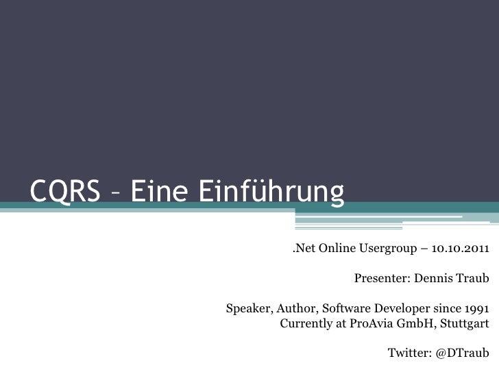 CQRS - Eine Einführung - NOUG 2011