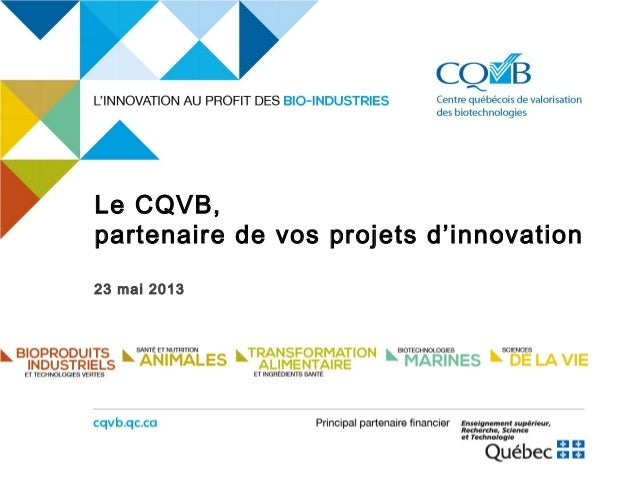 Le CQVB,partenaire de vos projets d'innovation23 mai 2013