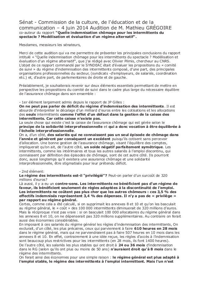 Sénat - Commission de la culture, de l'éducation et de la communication – 4 juin 2014 Audition de M. Mathieu GRÉGOIRE co-a...
