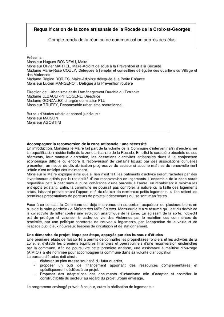 Requalification de la zone artisanale de la Rocade de la Croix-st-Georges             Compte-rendu de la réunion de commun...