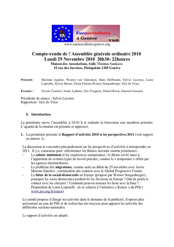www.eurosocialistes-geneve.org        Compte-rendu de l'Assemblée générale ordinaire 2010            Lundi 29 Novembre 201...