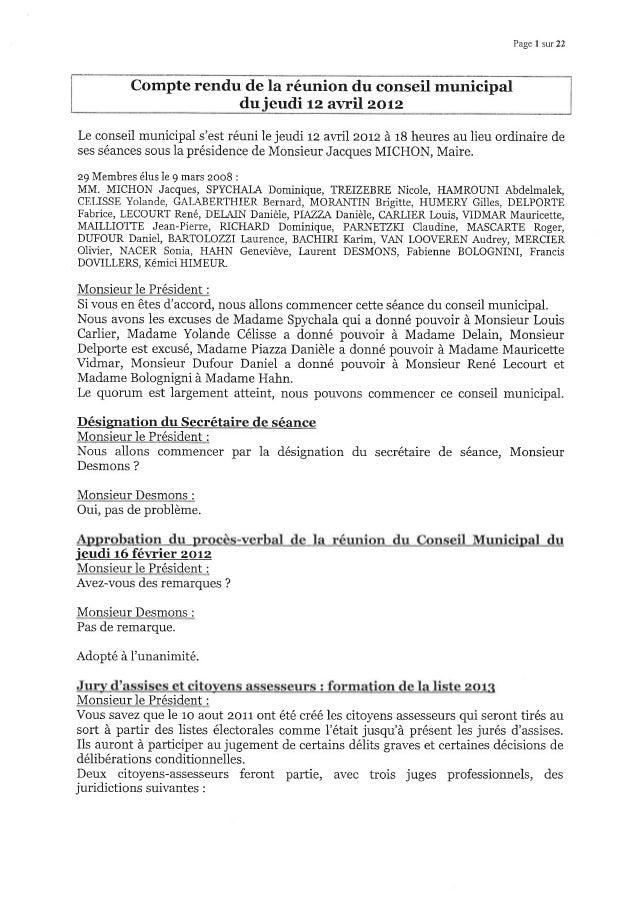 Page I sur 22 Compte rendu de la réunion du conseil municipal du ieudi rz avril zorz Le conseil municipal s'est réuni le j...