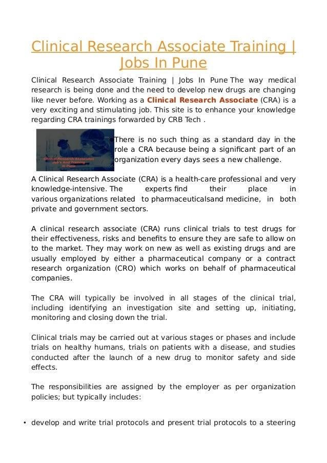 Clinical research associates cra jobs pdf for Cra clinical research associate