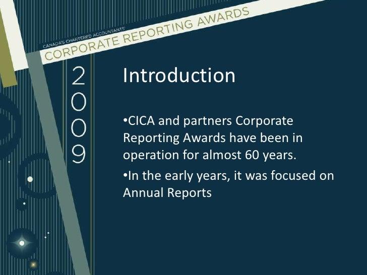 CICA Corporate Reporting Awards 2009