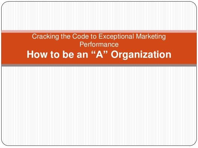 Crack the Marketing Performance Code