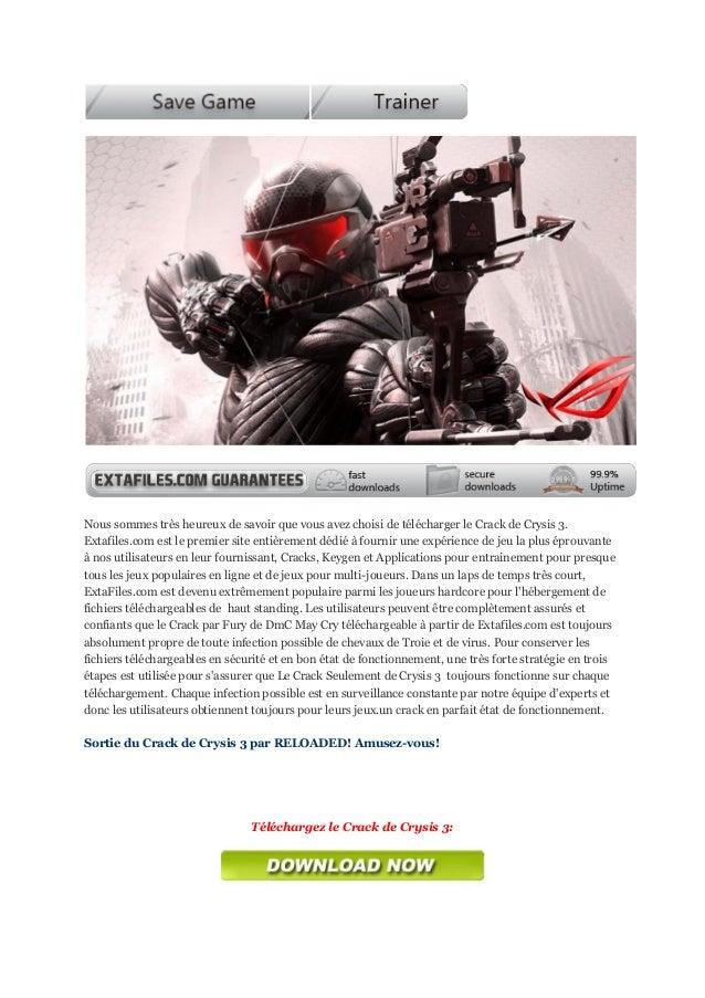Nous sommes très heureux de savoir que vous avez choisi de télécharger le Crack de Crysis 3.Extafiles.com est le premier s...
