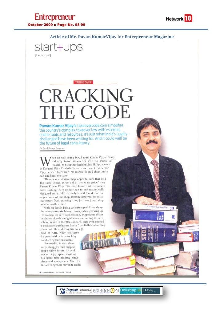 Cracking The Code   Enterpreneur Article   Mr Pavan Kumar Vijay