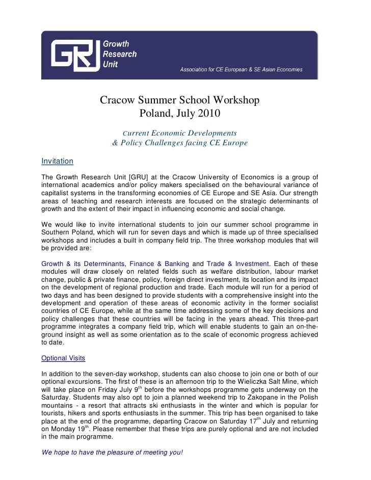 Cracow Summer School Workshop                            Poland, July 2010                             Current Economic De...