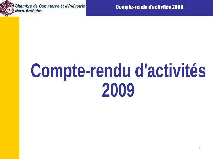 Compte-rendu d'activités 2009
