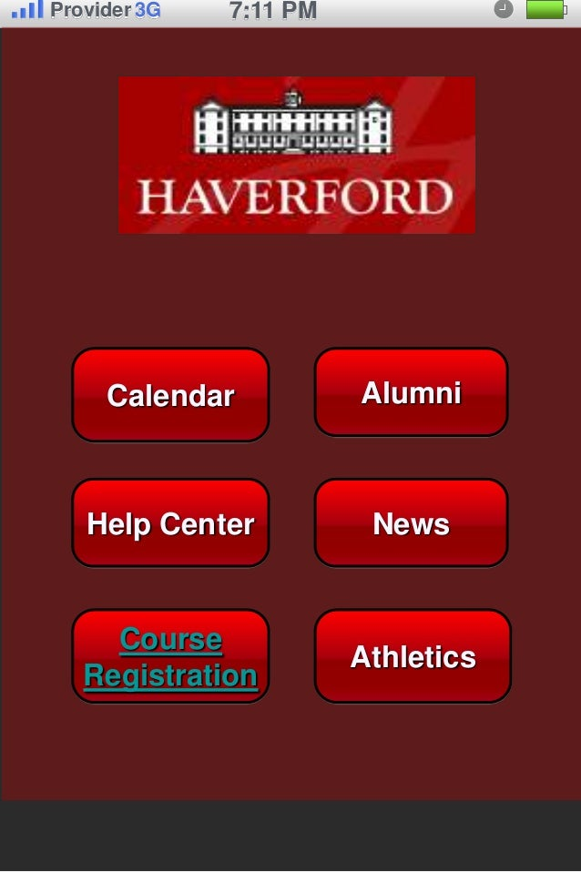 Provider 3G   7:11 PM     Calendar           Alumni   Help Center           News     Course                        Athleti...