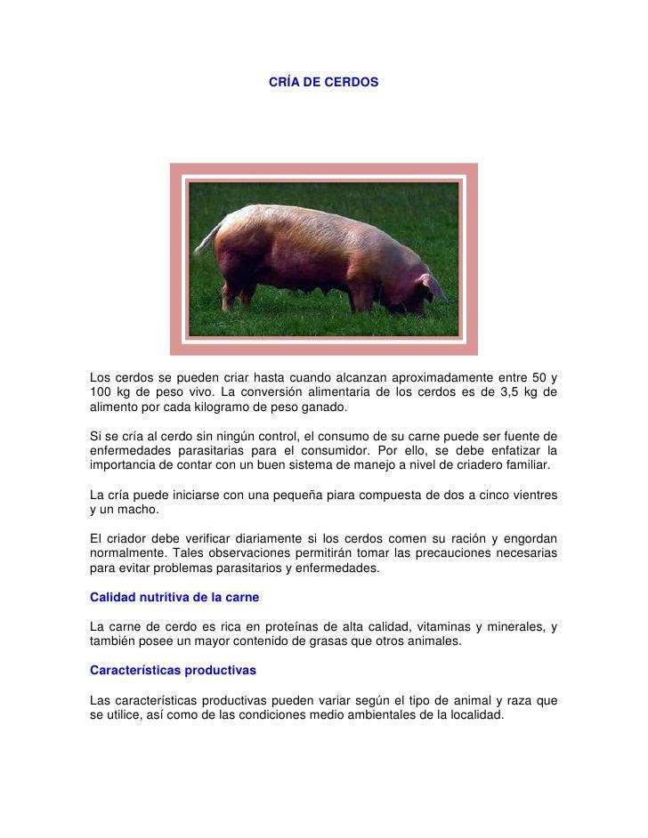CRÍA DE CERDOSLos cerdos se pueden criar hasta cuando alcanzan aproximadamente entre 50 y100 kg de peso vivo. La conversió...