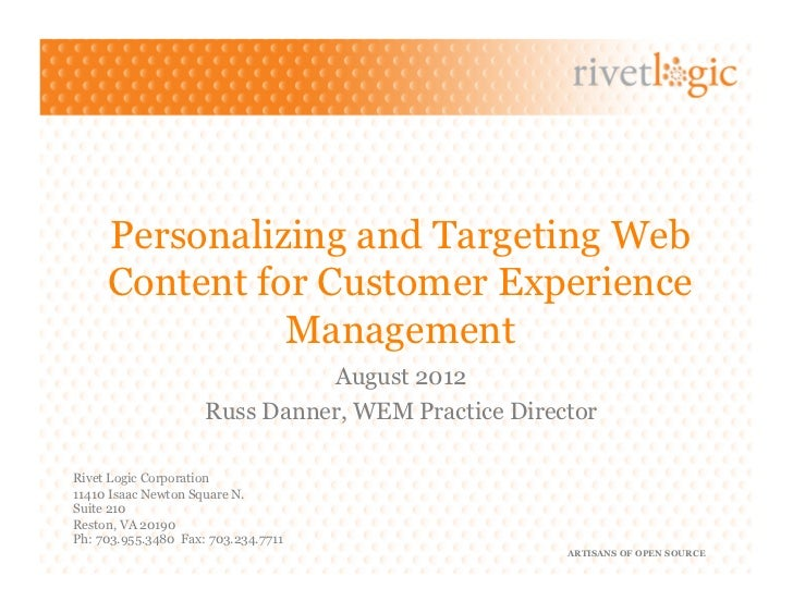 Personalizing and Targeting Web     Content for Customer Experience               Management                              ...