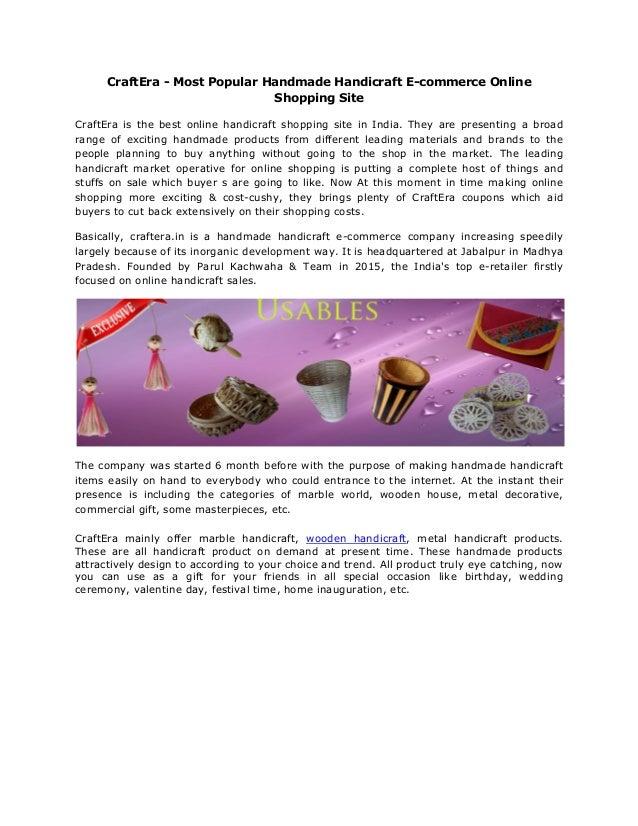 Craft era most popular handmade handicraft e commerce for Most popular online shopping site