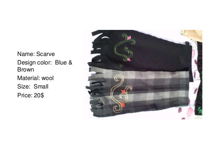 Name: ScarveDesign color: Blue &BrownMaterial: woolSize: SmallPrice: 20$