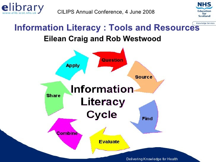 Information Literacy : Tools and Resources Eilean Craig and Rob Westwood CILIPS Annual Conference, 4 June 2008