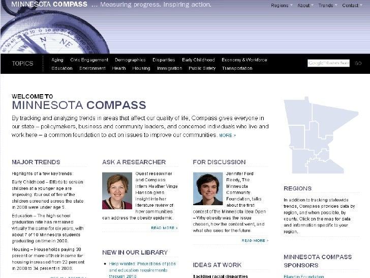 2010 Regional Forum on Workforce Housing July 2010 Craig Helmstetter Wilder Research Minnesota Compass: Measuring progress...