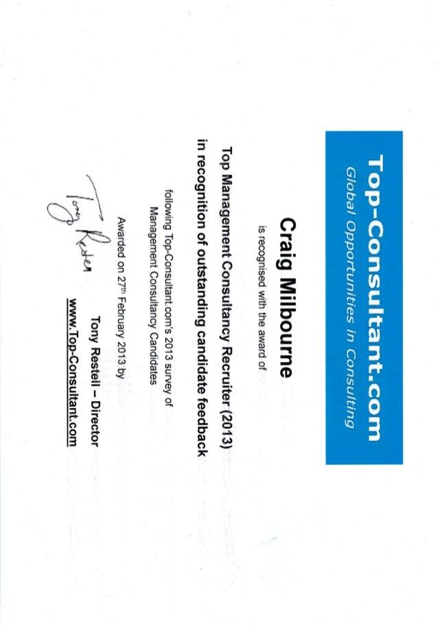 Craig Milbourne - Best Management Consulting Recruiter Award 2013