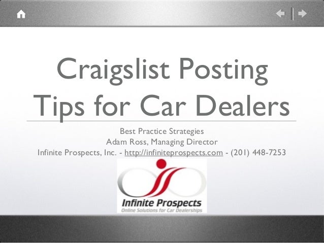 *Updated June 2013* Craigslist Used Car Marketing Tips for Car Dealerships from Infinite Prospects