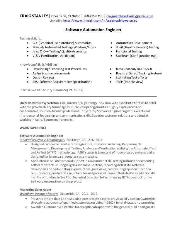 Craig stanley software automation engineer resume