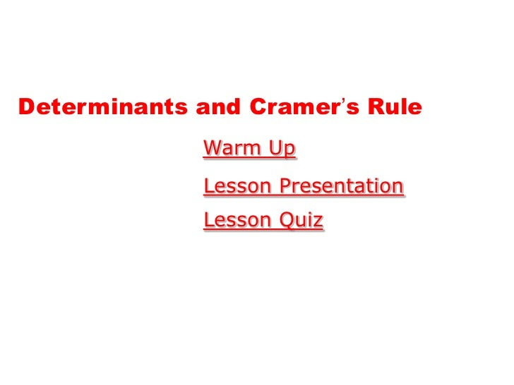 how to use cramers rule