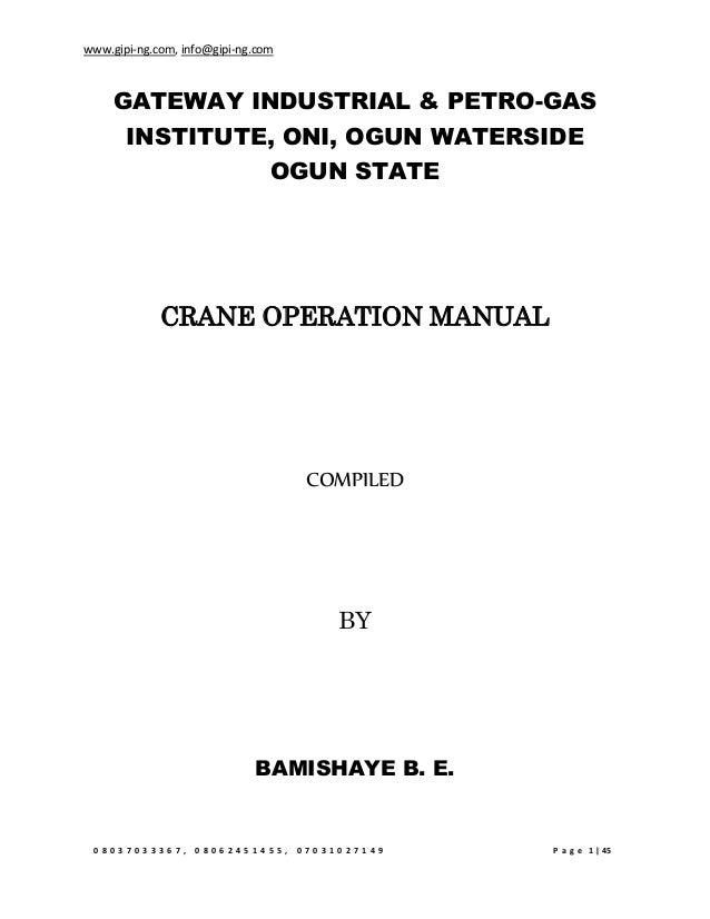 Crane Operation Manual