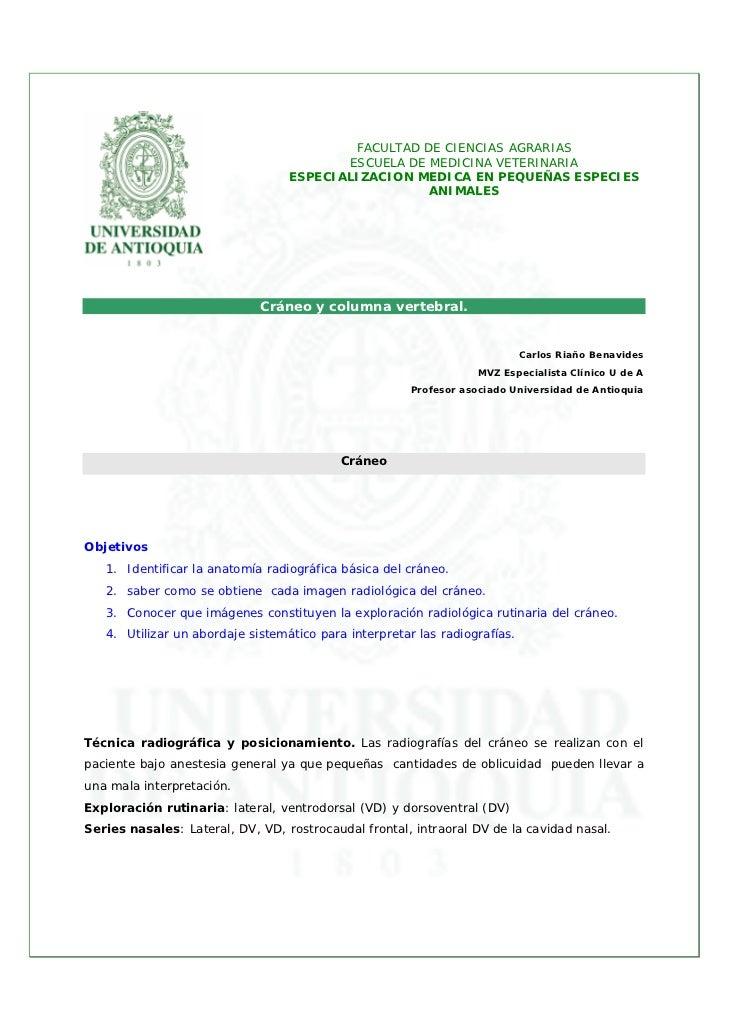 FACULTAD DE CIENCIAS AGRARIAS                                         ESCUELA DE MEDICINA VETERINARIA                     ...