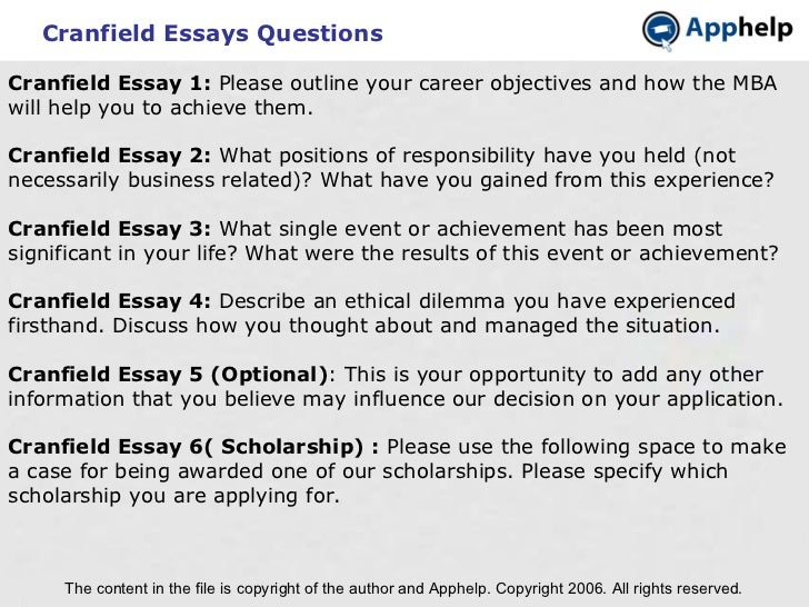 Cranfield Essays Questions The content in the file is copyright of the author and Apphelp. Copyright 2006. All rights rese...