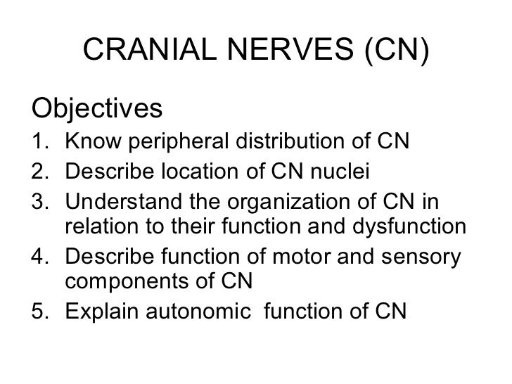 CRANIAL NERVES (CN)Objectives1. Know peripheral distribution of CN2. Describe location of CN nuclei3. Understand the organ...