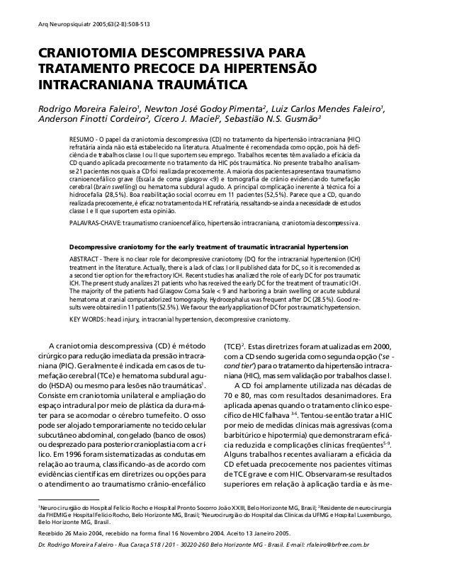 Arq Neuropsiquiatr 2005;63(2-B):508-513  CRANIOTOMIA DESCOMPRESSIVA PARA TRATAMENTO PRECOCE DA HIPERTENSÃO INTRACRANIANA T...